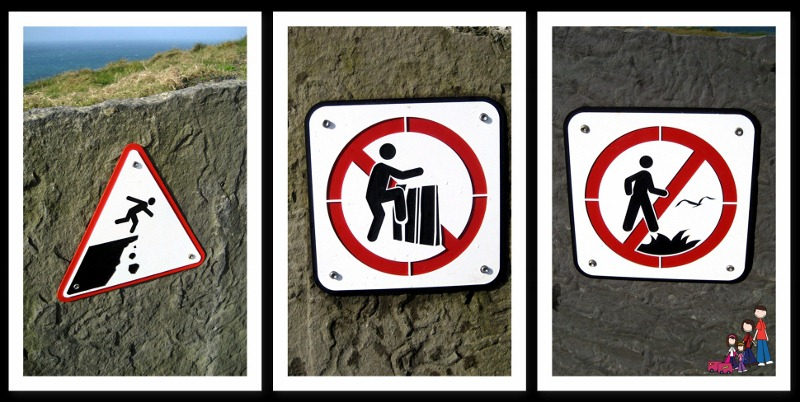 Signs at the Cliffs of Moher