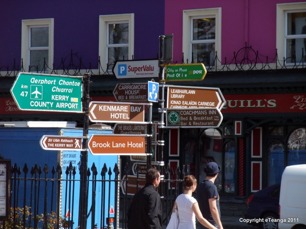 Irish signs in Kenmare- what do they mean? Irish Gaelic road signs. Ireland travel tips | Ireland vacations | IrelandFamilyVacations.com