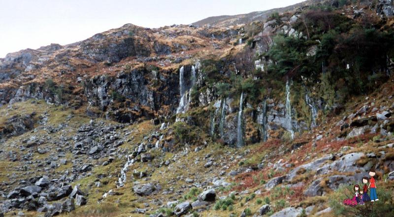 Heather and Waterfalls in the Gap of Dunloe, near Killarney, Ireland