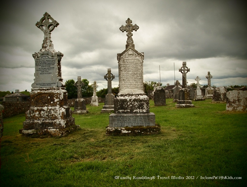 Grave stones at Clonmacnoise Monastic Site in Ireland