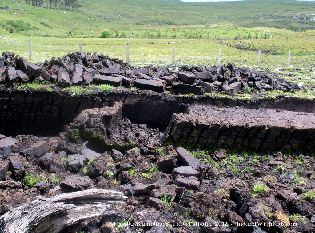 Fresh Cut Peat Logs in Ireland