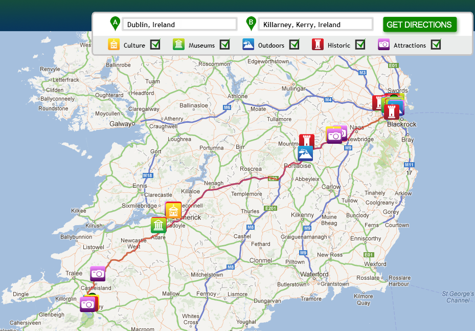 Ireland Travel Tool Plan Your Driving Route with My Discover – Ireland Tourist Attractions Map