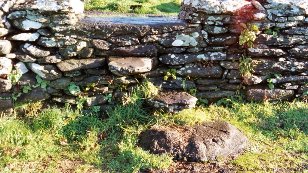 Stone steps into Kilmalkedar Churchyard, Dingle Peninsula, Ireland