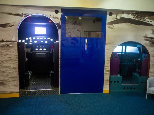 Flight simulator and Myths of Flight at Foynes Flying Boat Museum, Ireland