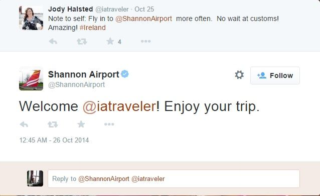 Shannon airport arrival tweet