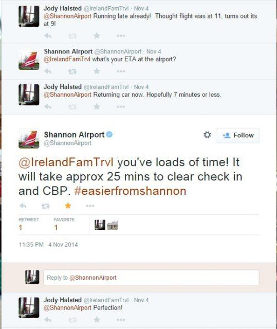 Shannon Airport departure tweets