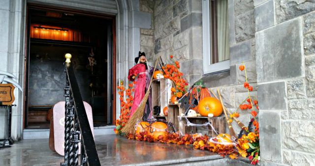 Ireland castle vacation. The entry at Ashford Castle decorated for Halloween.
