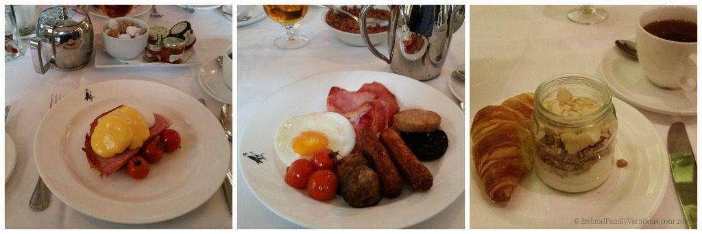 A few of the breakfast options at Mount Falcon Estate in County Mayo. Choosing the B&B option with your stay will fuel your Ireland vacation activities!