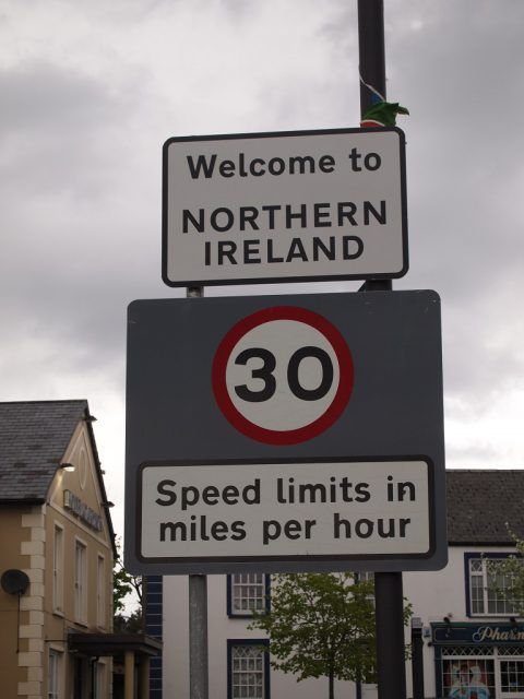 Northern Ireland road sign. Driving in Ireland tips.