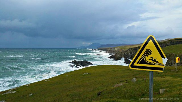 The wind was especially fierce the day we visited Achill Island in County Mayo. Huge waves beat against the shore and signposts vibrated, valiantly withstanding the gusts which nearly knocked us over. We wouldn't even let the girls out of the car!