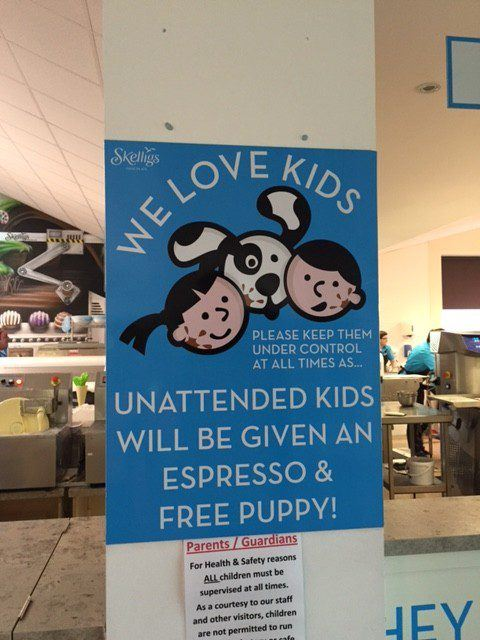 Fun sign at Skelligs Chocolate Factory. Ireland vacation. Tips for your Ireland family vacation.