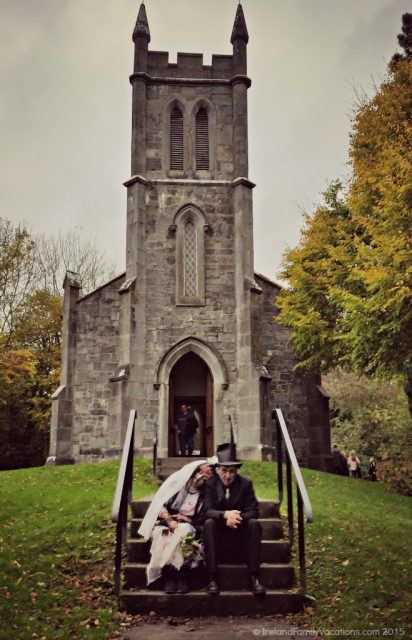 Zombies at Church at Bunratty Castle. Ireland family vacation. Ireland vacation tips