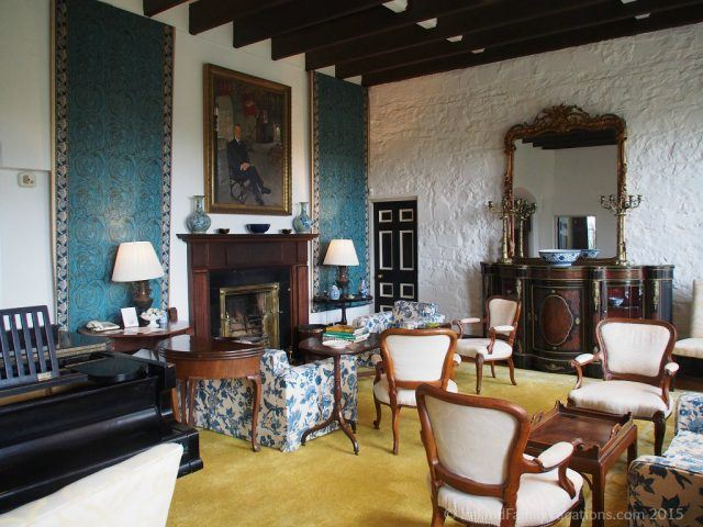 Drawing Room in Knappogue Castle, County Clare. Private Ireland Castle Stay. Ireland castle vacation.