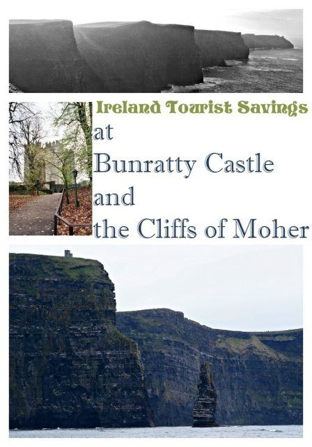 Ireland tourist savings at Cliffs of Moher and Bunratty Castle, County Clare. Ireland vacation | Ireland travel tips | IrelandFamilyVacations.com