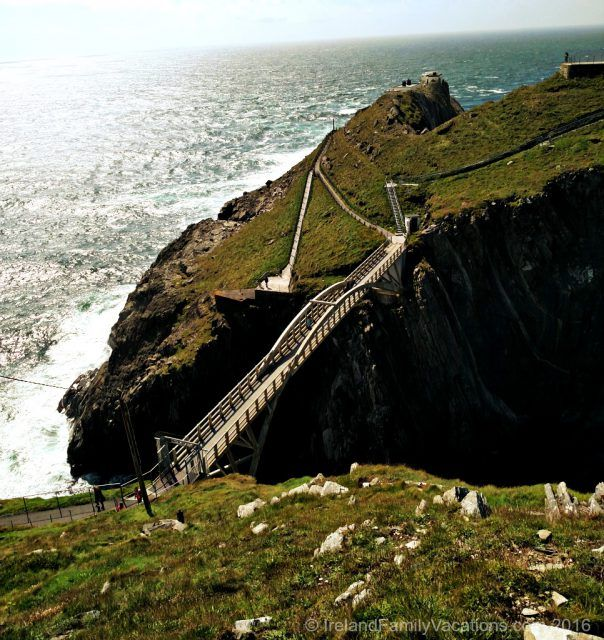 Mizen Head Lighthouse, Ireland's most southwesterly point, is reached by a lovely cliff-side stroll followed by crossing a very high bridge from one dramatic cliff to another. If you're lucky you may see seals sunning themselves on the rocks below. Ireland travel tips | IrelandFamilyVacations.com