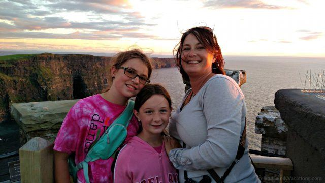Atop O'Brien's Tower as the sun sets. Cliffs of Moher, Ireland. Ireland travel tips | Ireland vacation | IrelandFamilyVacations.com