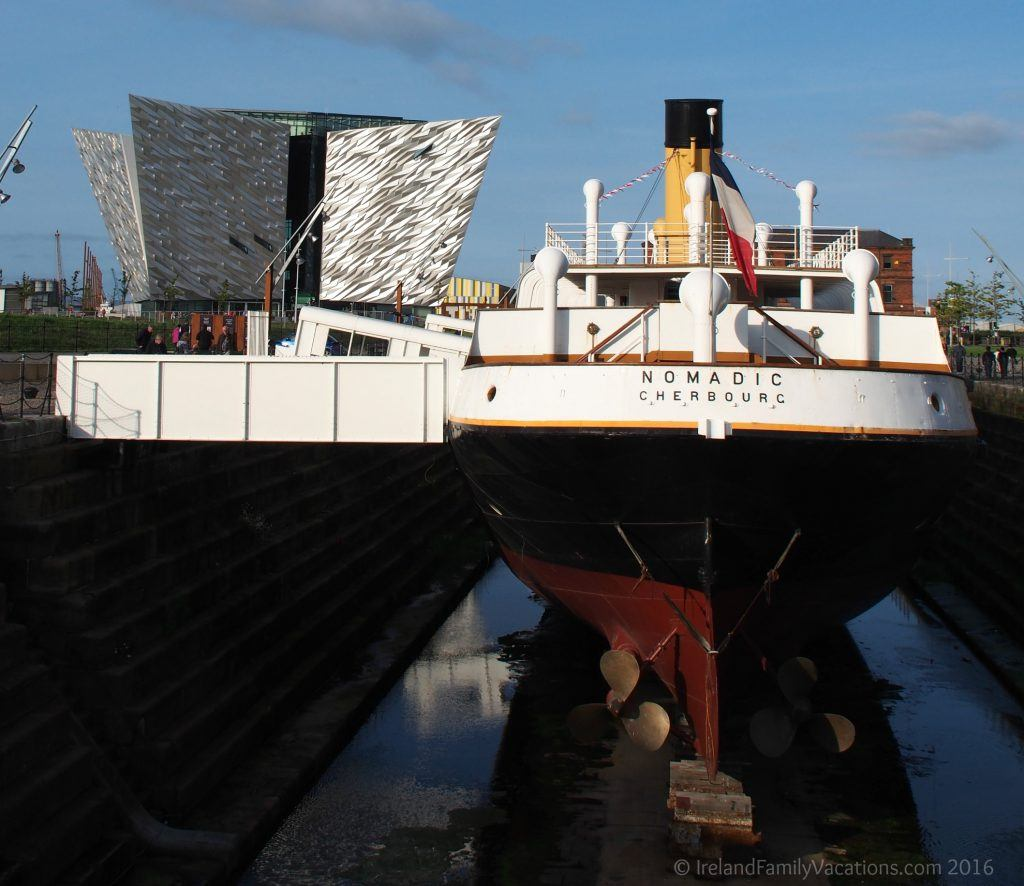 SS Nomadic, the only remaining White Star Line ship, sits in drydock near Titanic Belfast. The guided tour here is easily one of the best in Belfast. Irealnd vacation | Ireland travel tips | Northern Ireland | IrelandFamilyVacations.com