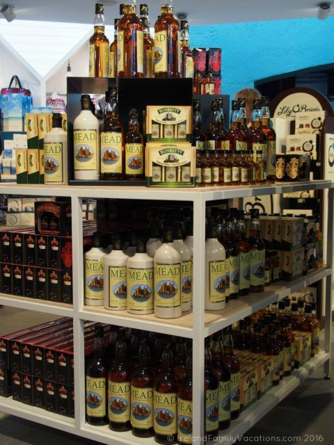 Bunratty Mead- and other tasty Irish liquors- at Bunratty Castle gift shop. Ireland travel tips | Ireland vacation |IrelandFamilyVacations.com