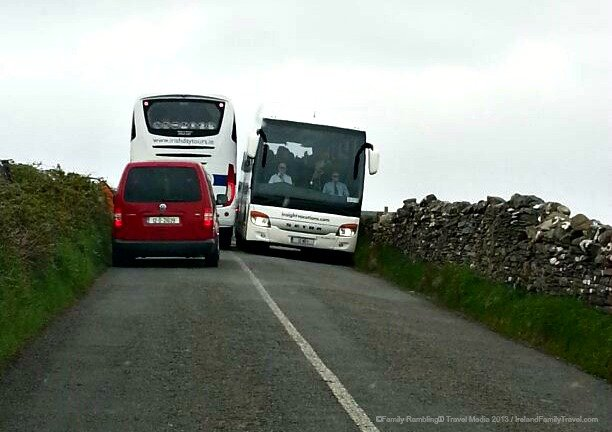 Buses Meet near Cliffs of Moher. Ireland travel tips | Ireland vacation |IrelandFamilyVacations.com