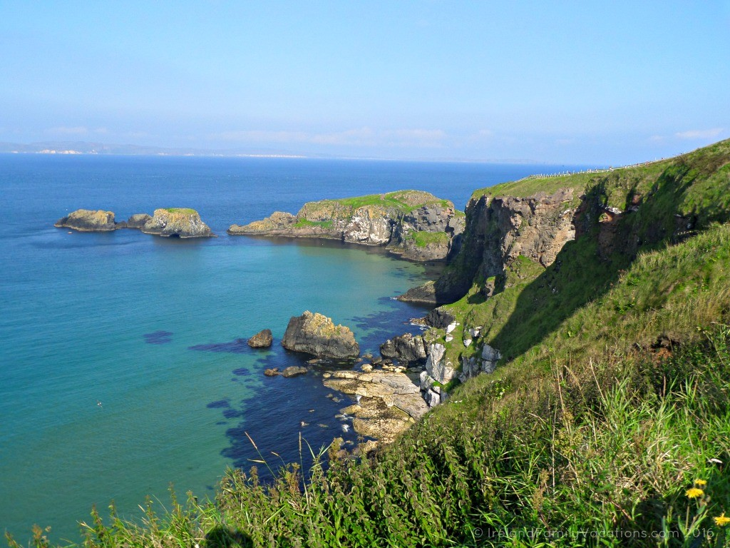 Walking to Carrick-a-Rede Rope Bridge. Ireland travel tips | Ireland vacation |IrelandFamilyVacations.com