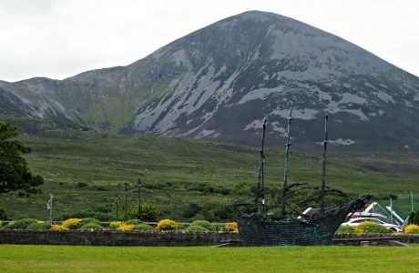 Coffin Ship Sculpture in Front of Croagh Patrick