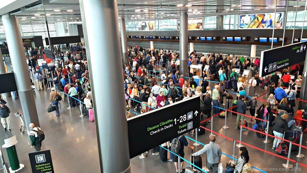 Crowds at Dublin Airport Check In. Ireland travel tips | Ireland vacation |IrelandFamilyVacations.com