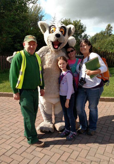 With our guide Willie and Larry the Lemur after our behind the scenes tour of Fota Wildlife Park. Ireland travel tips | Ireland vacation |IrelandFamilyVacations.com
