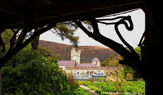 Glenveagh Castle viewed from the kitchen gardens. Ireland travel tips | Ireland vacation | IrelandFamilyVacations.com