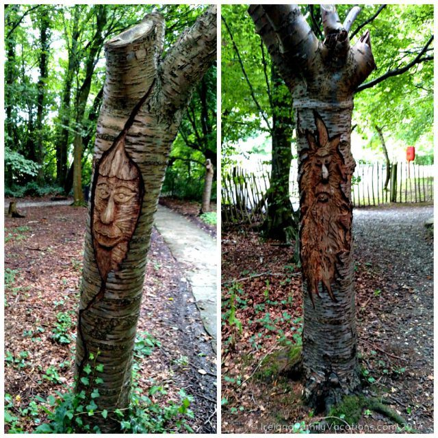Tree carvings at Carnfunnock Country Park, Larne, Antrim, along Northern Ireland's Causeway Coastal Route. Ireland travel tips | Ireland vacation | IrelandFamilyVacations.com