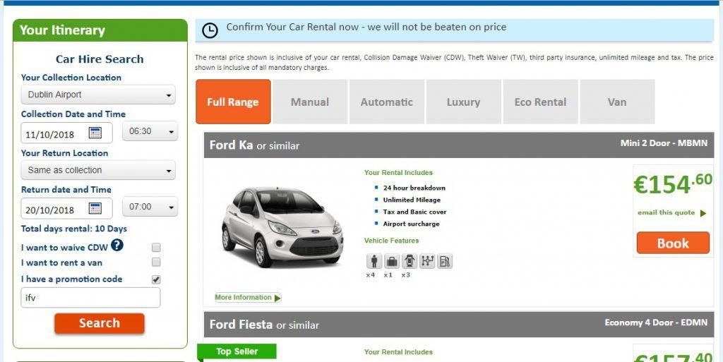 Booking Car Rental in Ireland