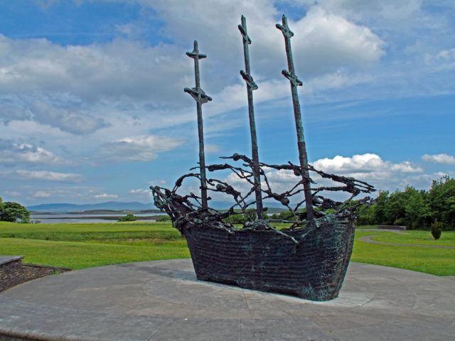 Coffin Ship sculpture, National Famine Memorial, Westport, County Mayo, Ireland