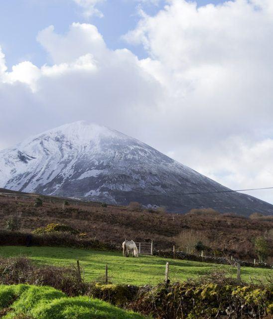 Croagh Patrick in snow. Westport, Mayo, Ireland.