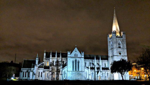 St Patrick's Cathedral at night, Dublin, Ireland. Photo by Jody Halsted, IrelandFamilyVacations.com