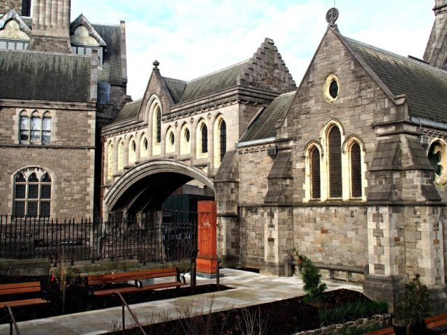 Dublinia and Christchurch Cathedral are connected via this dramatic stone arch. Dublin travel tips.