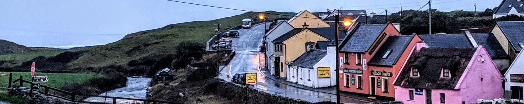 A rainy evening on Fisher Street in Doolin, Ireland