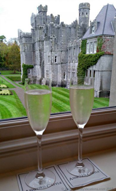 a welcome drink at Ashford Castle in Ireland