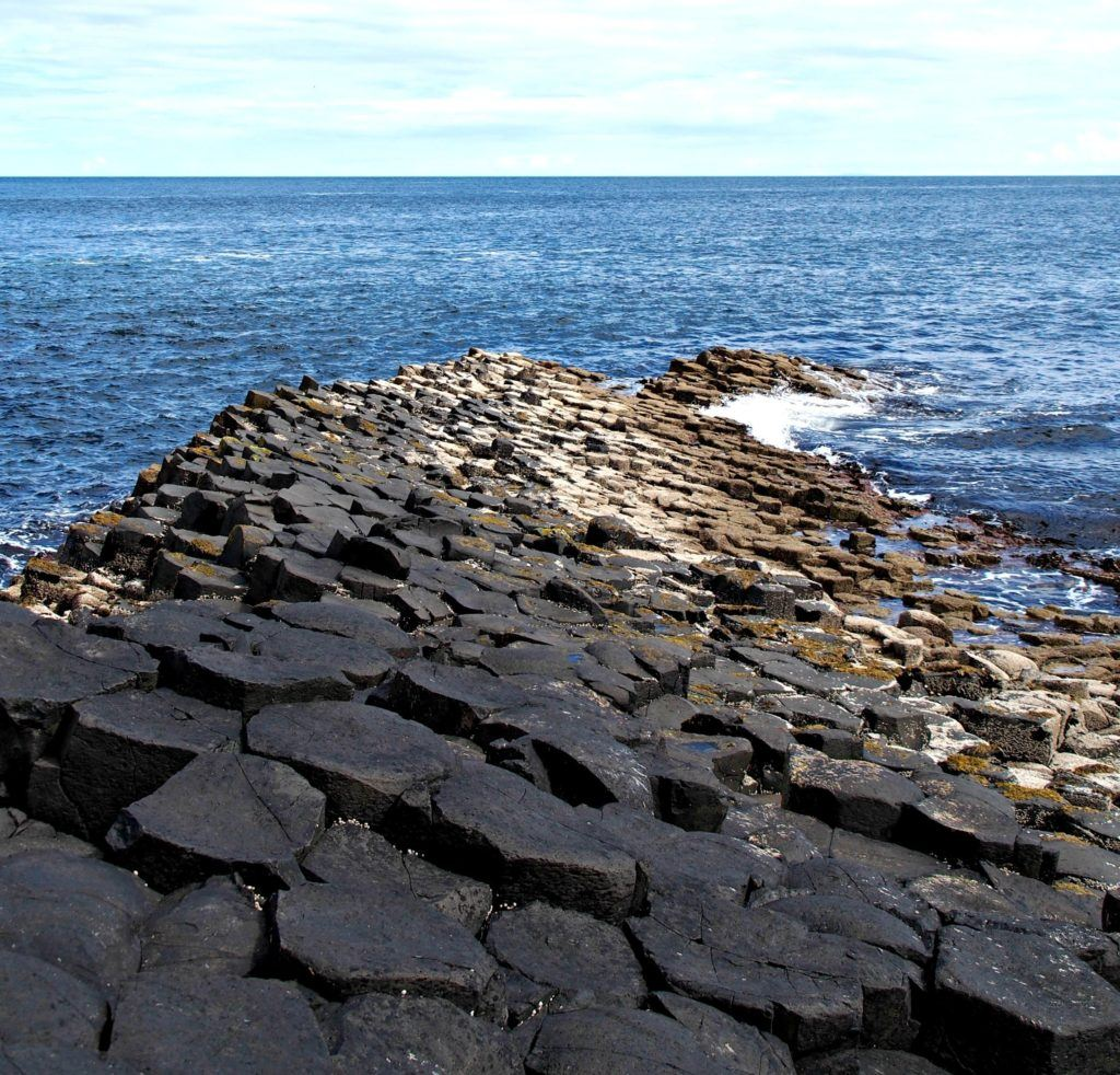 The Giant's Causeway in Northern Ireland stretches to Scotland