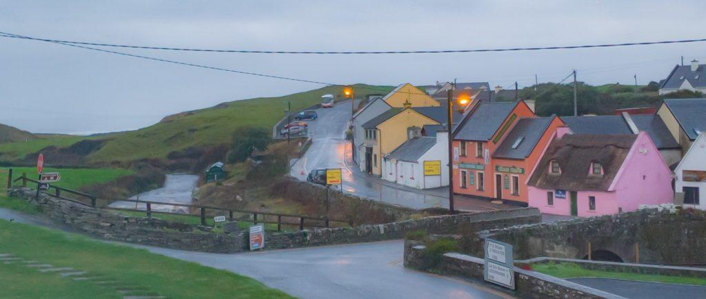 Brightly colored shops on Fisher Street in Doolin, Ireland