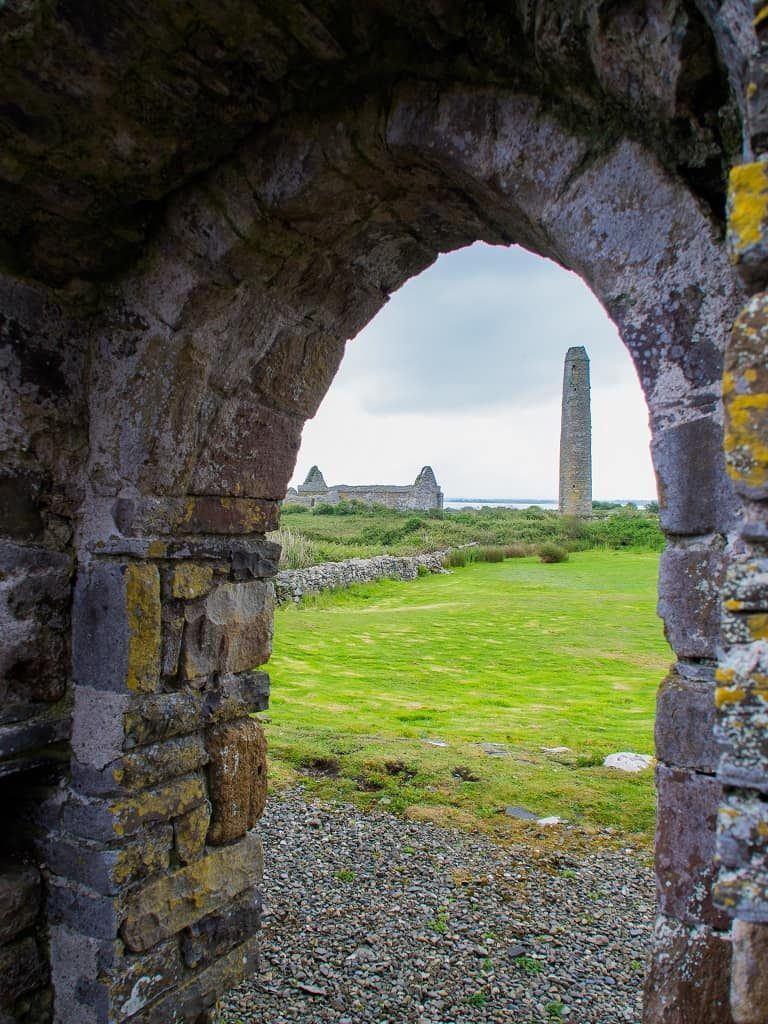 Scattery Island round tower viewed through church door