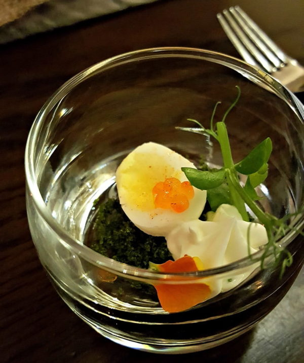Quail Egg amuse bouche at Cedars Restaurant, Lough Eske Castle, Donegal, Ireland