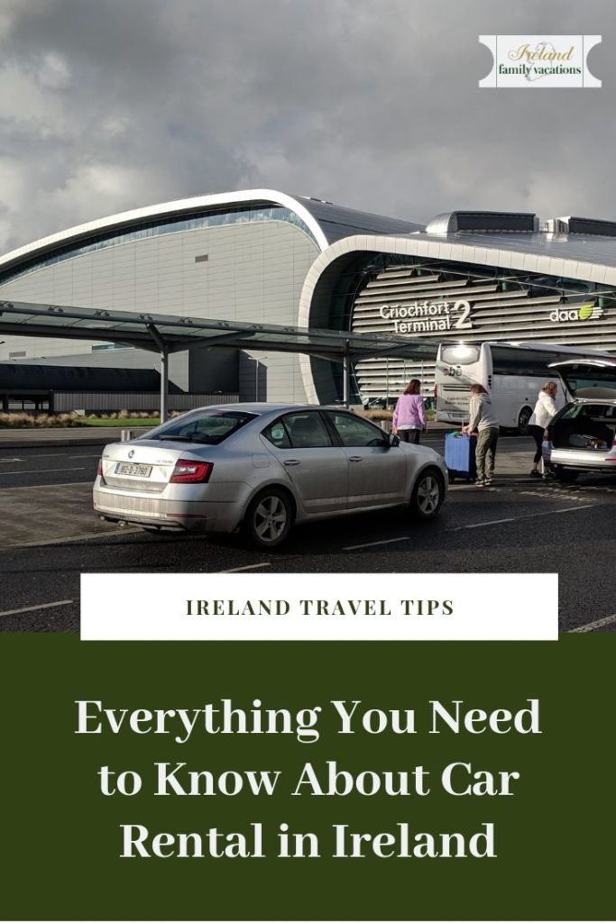 Rental car in front of Dublin Airport. Renting a car in Ireland