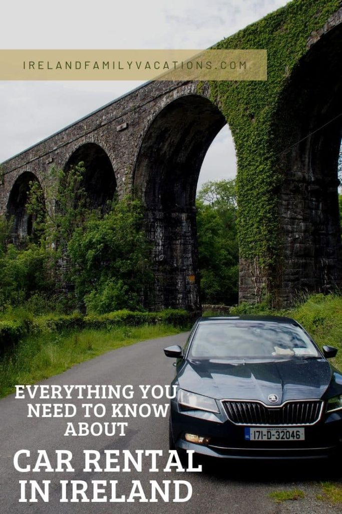 Car in front of Durrow viaduct. Car rental in Ireland