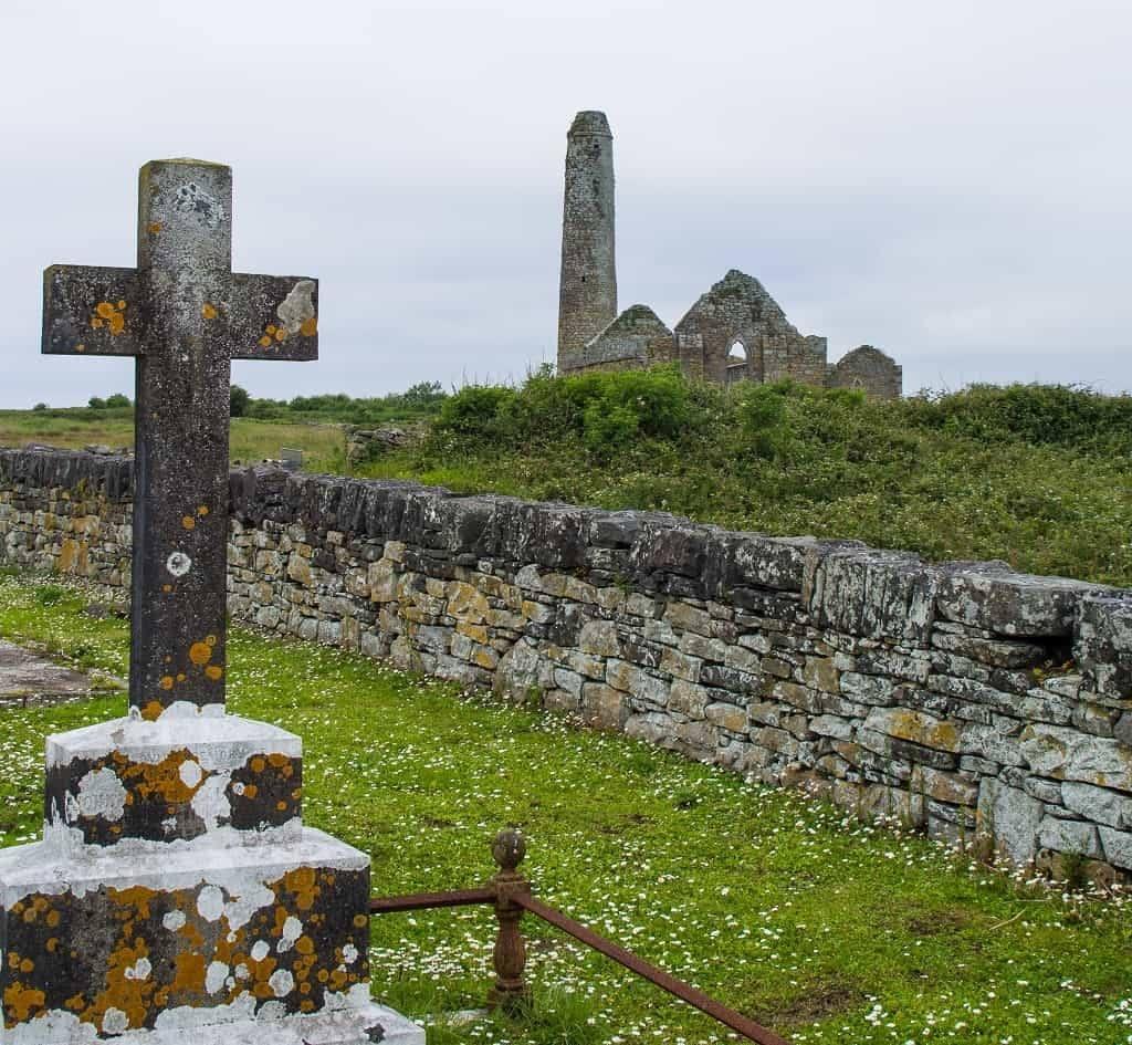 St Senan's Monastery from churchyard, Scattery Island, County Clare, Ireland