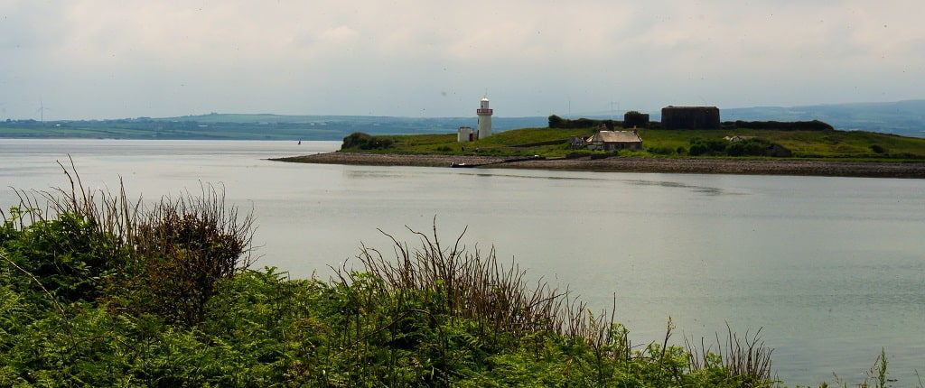 View of lighthouse and Napoleonic artillery battery on Scattery island, Ireland