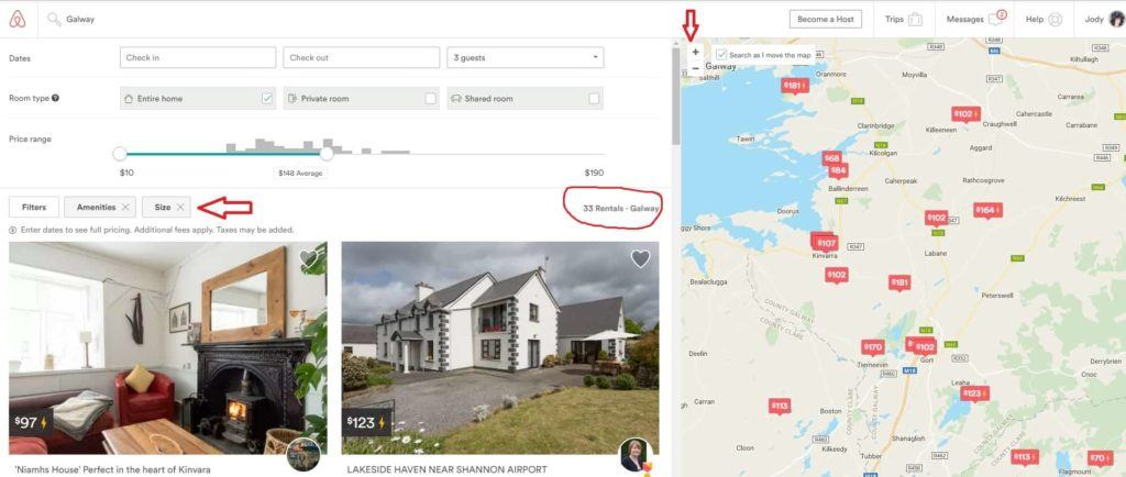 Booking AirBnB in Galway, Ireland