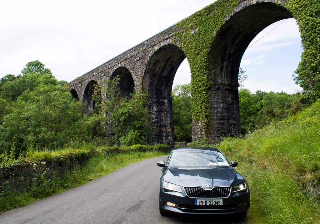 car at Durrow Viaduct, County Waterford, Ireland