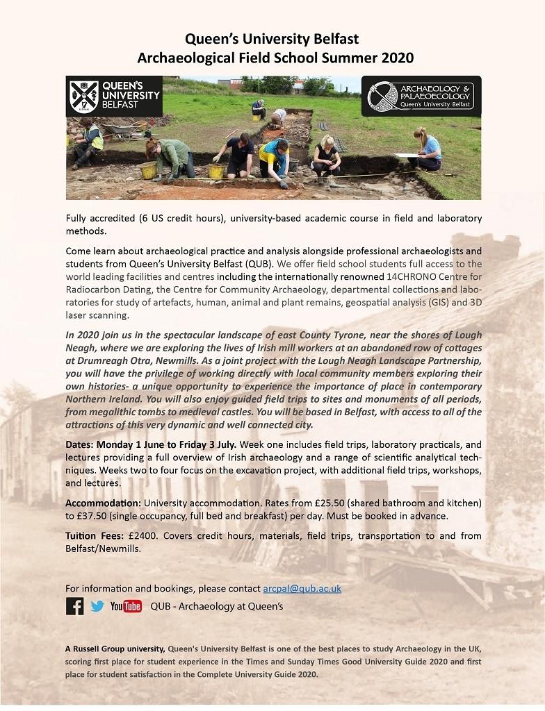 QUB Archaeological Field School 2020