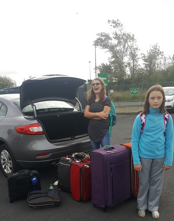 rental car and too much luggage